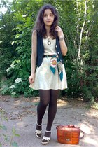 navy denim vest - beige thrifted floral dress - dark brown tights - green scarf