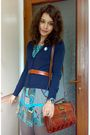 Blue-dress-blue-cardigan-gray-tights-brown-belt-brown-marc-chantal-purse