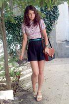 purple liberty floral shirt - brown Pigeon purse - black shorts