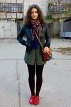 black sweater - dark green Wissmach vest - black skirt - black jacket - brown -