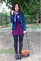 black shoes - black leggings - blue silver buttons MBG blazer - scarf