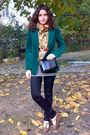 Gray-blouse-green-blazer-black-pants-gold-scarf-red-belt-black-purse