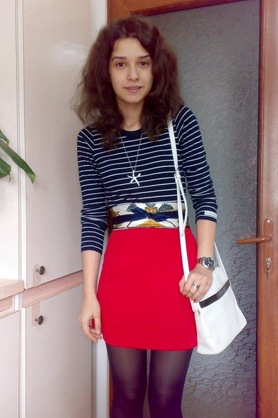 scarf - white trifted bag - red Orsay skirt - blue striped Aqua Marime blouse