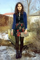 dark brown tights - camel purse - lacey ruffled Atmosphere blouse
