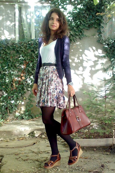 brown vintage purse - black tights - white skirt - blue cardigan