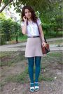 White-vero-moda-shirt-beige-pimkie-skirt-green-tights-black-belt-brown-p