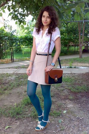 beige Pimkie skirt - white Vero Moda shirt - green tights