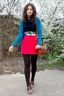Dark-brown-striped-tights-forest-green-tied-as-an-obi-scarf-black-mbg-blouse