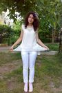 White-blouse-white-top-white-pants-white-purse-beige-gray