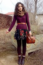 crimson sweater - dark brown socks and leggings - bronze floral scarf