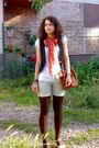 White-blouse-blue-vest-beige-shorts-brown-tights-beige-orange-scarf
