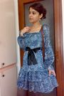 Blue-dress-gray-tights-brown-marc-chantal-purse-black-fabio-lenzi-shoes-
