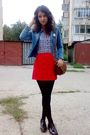 Blue-h-m-shirt-red-orsay-skirt-blue-jacket-black-mondex-tights-brown-pur