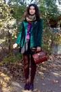 Black-thrifted-dress-forest-green-thrifted-velvet-blazer