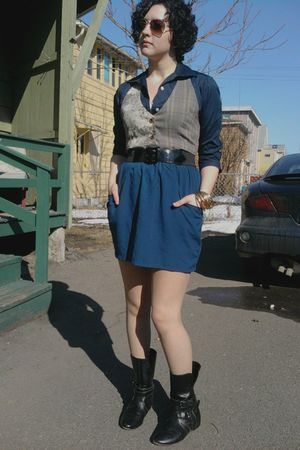 black Burlington coat factory boots - blue Urban Outfitters skirt - blue Label S