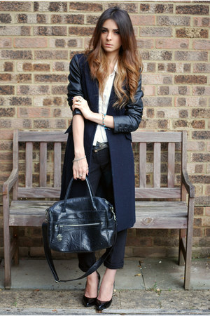navy coat - black shoes - white dress shirt shirt - black pants