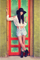 foreign exchange blouse - rag & bone boots - Forever 21 hat - Levis shorts