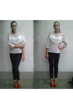 carrot orange no name heels - white lace second hand shirt
