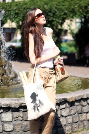 eggshell shopping bag Empik bag - tan vintage bag - dark brown cropp sunglasses