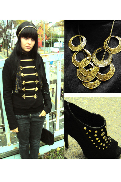gold swing london necklace - black Deichmann shoes - black H&amp;M jacket - black vi