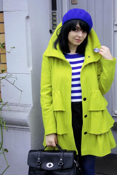 lime green with ruffles Dorothy Perkins coat - navy H&M hat - black satchel bag