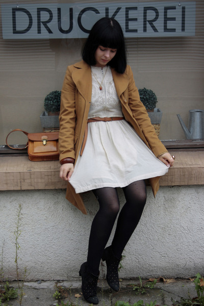 Gabor boots - embroided Zara dress - camel Topshop jacket - vintage bag