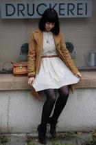 Gabor boots - embroided Zara dress - camel Topshop jacket - vintage bag