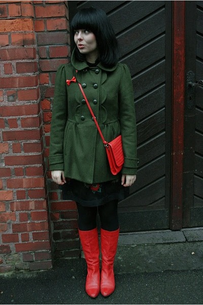 dark green F&amp;F coat - red Rylko shoes - black Vero Moda dress - red vintage bag