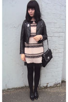 pink MsButterfly dress - black H&M jacket - black new look purse