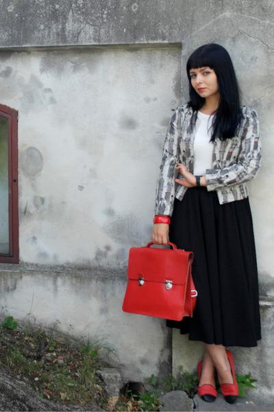 satchel room 7 bag - asos dress - Apriori jacket - Parfois loafers