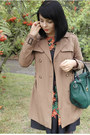 Light-brown-trench-coat-zara-coat-black-rowan-printed-oodij-dress