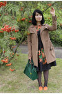 Black-rowan-printed-oodij-dress-light-brown-trench-coat-zara-coat
