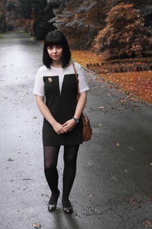 Black White dress - borella vintage bag - ms brown flats