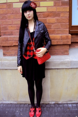 red office london shoes - red H&amp;M vest - black Topshop dress - black H&amp;M jacket 