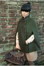 Dark-green-zara-cape-nude-zara-blouse-crimson-vintage-flats