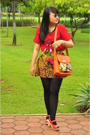red leather iwearup wedges - black unbranded tights - yellow twistcone H&M skirt