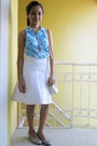 White-plain-skirt-turquoise-blue-printed-top
