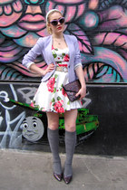 red petticoat Sheinside dress - periwinkle fitted H&M blazer