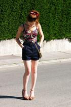 navy Zara dress - tan H&M bag - red unknown accessories