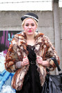 Brown-faux-fur-miss-sixty-coat-cream-vintage-vintage-hat