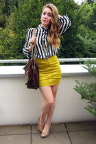 mustard gold zipper Miss London skirt - white stripes Miss London shirt