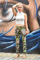 crop top Primark top - H&M bag - tropical print romwe pants