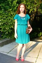 pink H&M shoes - green H&M dress - brown Mandarin bag - black D&M accessories