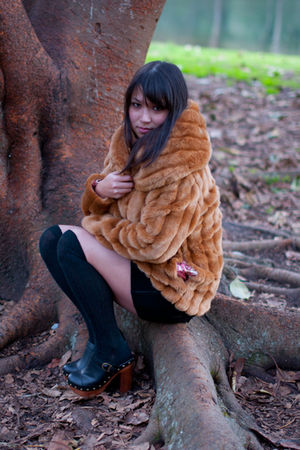 brown faux fur charlie brown coat - black clogs Jeffrey Campbell shoes