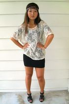 beige vintage shirt - black Forever21 dress - black Steve Madden shoes - brown U