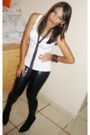 White-american-apparel-blouse-black-zara-leggings-black-arezzo-boots