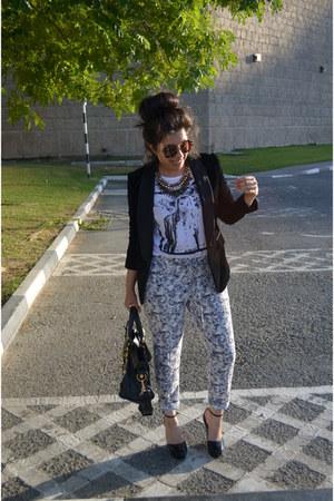 velvet Zara blazer - balenciaga bag - Zara necklace - Mango t-shirt