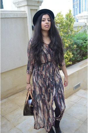 printed Topshop dress - Louis Vuitton bag - River Island heels
