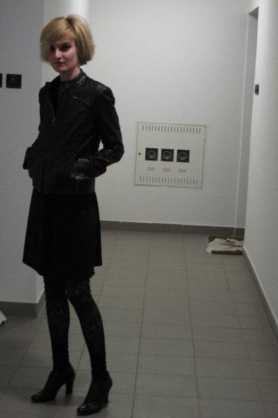 Naf Naf jacket - Miss Selfridges dress - Topshop leggings - Tosca Blu shoes