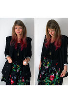 black Primark blazer - red joe browns skirt - gold Accessorize necklace - black